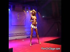 lesbian striptease show on stage in mens club