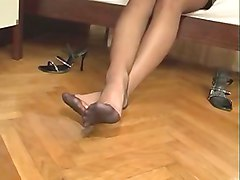 nylon feet in high heels