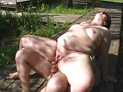 Redhead mature BBW fucked outdoors
