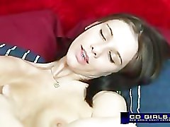 girl with glasses has creamy orgasm