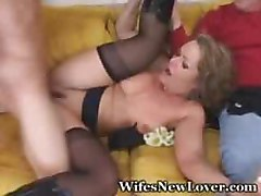 hubby watches wife fuck her biggest cock she had