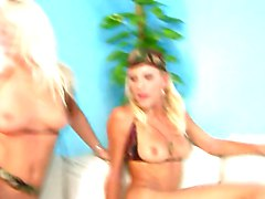 Two blondes fuck a lucky guy