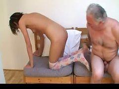 old man fuck young girl sitting on a table