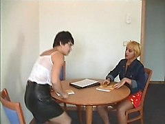 short haired milf with teen girl