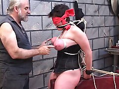 euro hairy milf sucks and fucks guy in a mask