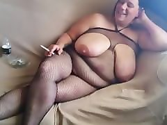 wife smokes in fishnet bodysuit smoking happy father's day!!