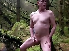 naked gay exhibitionist in the forest