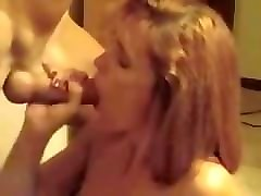kristine from 1fuckdate.com - wife gives blowjob and gets a cums