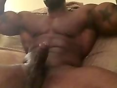 black muscle man jacking off & cumming
