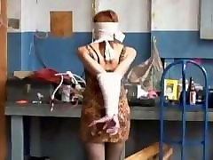 blindfold wife strapon