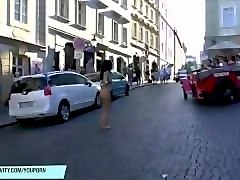 enza has fun on public streets
