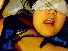 blindfolded wife takes two