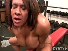 girl gets fucked with gym tights on