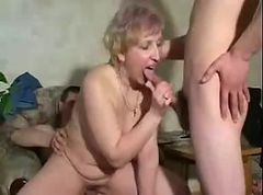 Russian mature enjoy with two boys