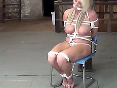 horny slave tied to a chair got her nice trained