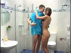 mother and son in bathroom