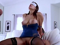 blindfolded wifes surprise cock