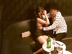 amateur japanese gal lets a guy touch her nice tits in a cafe