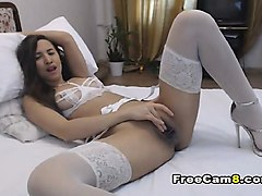 hot college babe in white lingerie masturbating