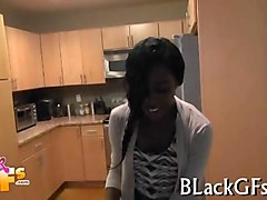 amazing black babe gets pounded by a white cock in pov