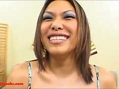 an asian tramp loves screwing with her lover with a long pecker on the bed and switch positions