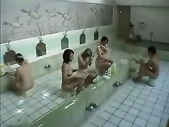 japanese wife cheating in the bath house