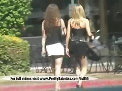 Two Sexy Girlfriends Kissing In Public