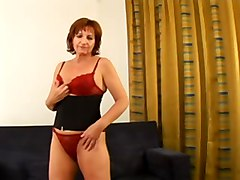 busty mature redhead with big tits convinced to