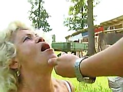 Granny Facefucked Outdoors